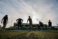 Wycombe players warm up ahead of the Sky Bet League 2 match between Plymouth Argyle and Wycombe Wanderers at Home Park, Plymouth, England on 26 December 2016. Photo by Mark  Hawkins / PRiME Media Images.
