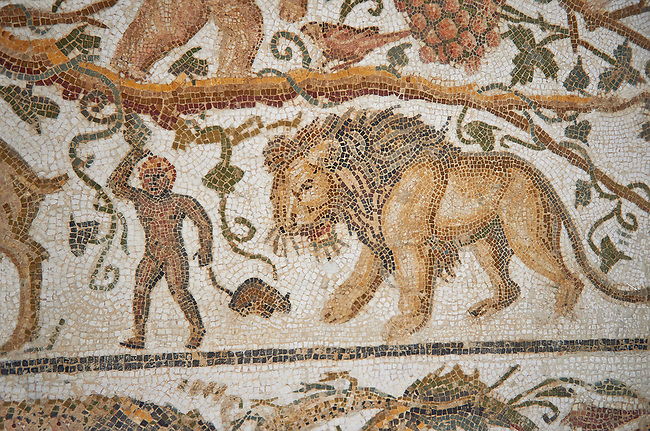 Detail of a Roman mosaics design depicting Silenus and Cupids showing a lion, from the House of Sienus, ancient Roman city of Thysdrus. 3rd century AD. El Djem Archaeological Museum, El Djem, Tunisia.