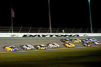 DAYTONA BEACH, FL - JULY 2, 2010: Dale Earnhardt Jr., driver of the #3 Wrangler Chevrolet Impala leads a pack of cars during NASCAR Nationwide Series Subway Jalapeno 250 powered by Coca-Cola at the Daytona International Speedway..(Photo by Phil Ellsworth / ESPN)..- RAW FILE AVAILABLE -