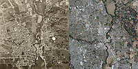 Then and Now aerial photo map comparison, City of Napa, Napa County, California, 1948 and 2010.  Aerial Archives provides current and historical photography from many years.