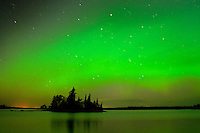 Northern lights or aurora borealis at Otter Falls<br /> Whiteshell Provincial Park<br /> Manitoba<br /> Canada