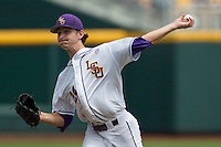 Louisiana State pitcher Cody Glenn (24) delivers a pitch to the plate against the North Carolina Tar Heels during Game 7 of the 2013 Men's College World Series on June 18, 2013 at TD Ameritrade Park in Omaha, Nebraska. The Tar Heels defeated the Tigers 4-2, eliminating LSU from the tournament. (Andrew Woolley/Four Seam Images)
