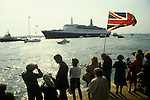 Queen Elizabeth 2 QE2 sets sails for the Falklands. Family and friends send them on their way.