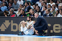 Real Madrid's Sergio Llull and coach Pablo Laso during Euroleague match at Barclaycard Center in Madrid. April 07, 2016. (ALTERPHOTOS/Borja B.Hojas) /NortePhoto