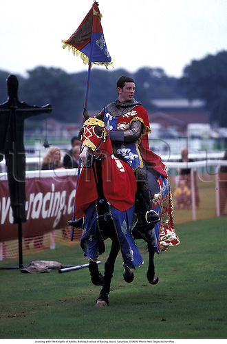 Jousting with the Knights of Arkley, Betdaq Festival of Racing, Ascot, Saturday, 010929. Photo: Neil Tingle/Action Plus...2001.joust.carnival carnivals.entertain entertainment.horse racing.equestrian sports.202
