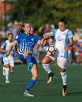 Allston, MA - Saturday August 19, 2017: Julie King, Camila Martins Pereira during a regular season National Women's Soccer League (NWSL) match between the Boston Breakers (blue) and the Orlando Pride (white/light blue) at Jordan Field.