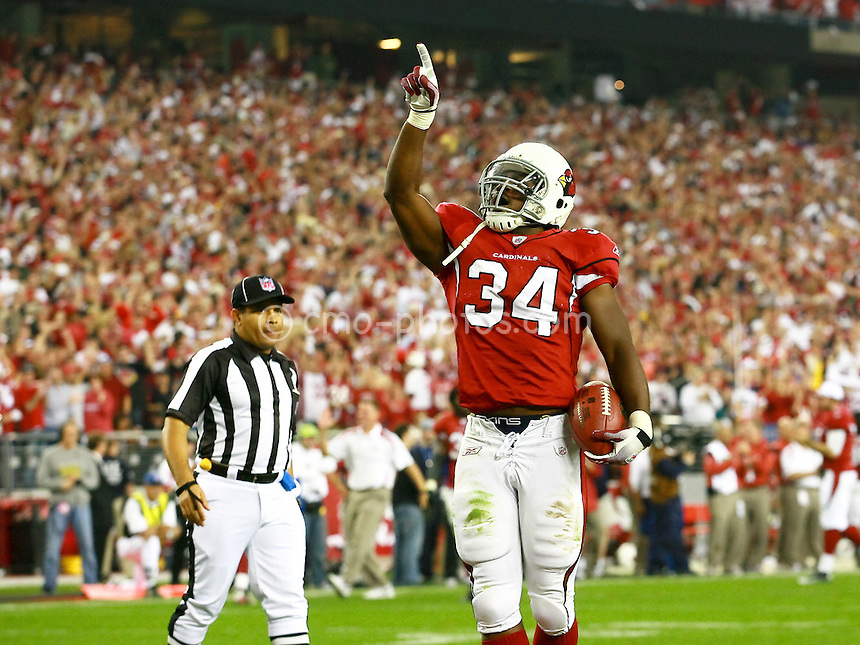 Jan 03, 2009; Glendale, AZ, USA; Arizona Cardinals running back Tim Hightower (34) celebrates a touchdown in the third quarter of the NFC Wild Card Playoff Game against the Atlanta Falcons at University of Phoenix Stadium.  The Cardinals won the game 30-24.