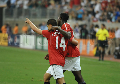 28 July 2010: Javier Hernandez (Chicharito) of Manchester United celebrates with Danny Welbeck after Hernandez scores in the second period of the MLS All-Star game. Manchester United defeated the MLS All-Stars 5-2 at Reliant Stadium in Houston, TX