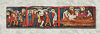 Romanesque painted Beam depicting The Passion and the Stations of the Cross<br /> <br /> Around 1192-1220, Tempera on wood from Catalonia, Spain.<br /> <br /> Acquisition of Museums Board's campaign in 1907. MNAC 15833.<br /> <br /> It is not known what was the original location of the beam, but it might have been part of the structure of a canopy. In any case, it was reused in a ceiling, as evidenced by the cuts that are at the top. It is decorated with seven scenes from the Passion and Resurrection of Christ, this scene shows Christ being taken dwon fron the Cross and laid in a tomb. The narrative character in the images and the predominance of yellow is typical of Catalan painting of the 1200&rsquo;s,  specifically with illustrations of Liber Feudorum Maior, a late twelfth-century illuminated cartulary book style of the Crown of Aragon