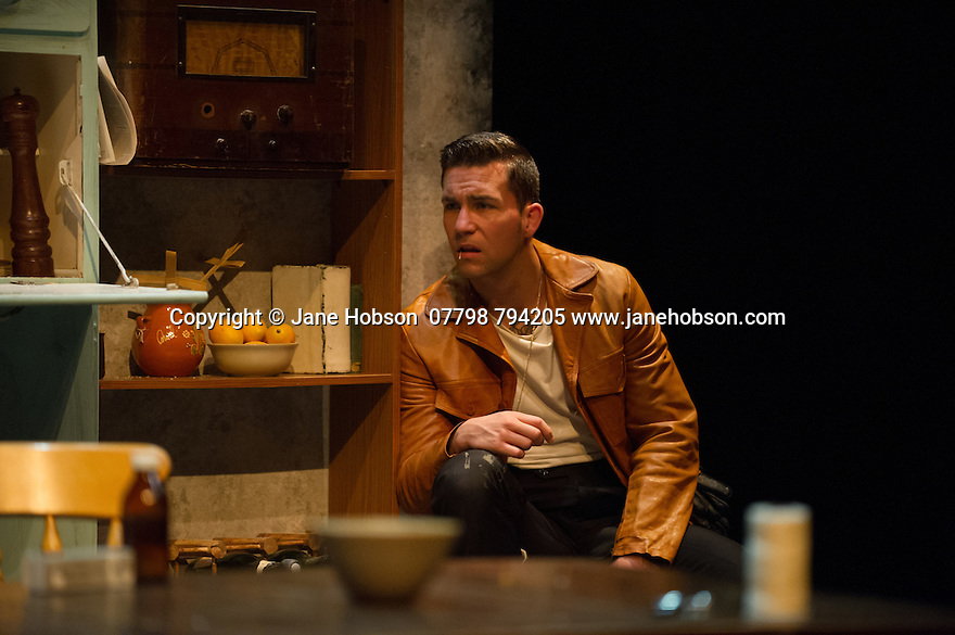 London, UK. 18.07.2014. Mountview Academy of Theatre Arts presents SATURDAY, SUNDAY, MONDAY by Eduardo de Filippo, the English adaptation by Keith Waterhouse & Willis Hall, directed by Michael Howcroft, at the Unicorn Theatre, as part of the Postgraduate Season 2014. Picture shows: Pete Grimwood (Federico). Photograph © Jane Hobson. Photograph © Jane Hobson.