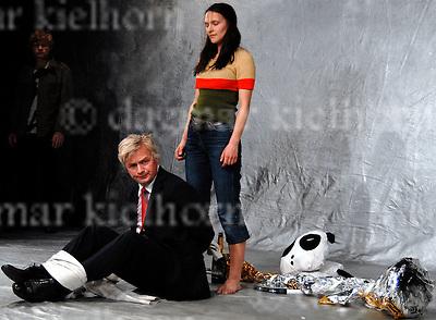 """Die fetten jahre sind vorbei""  Gorki Studio Berlin,Germany,director Frank Abt,Jule(Iringo`Re´ti),Peter (Gunnar Teuber),Hardenberg (Horst Kotterba)"