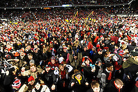 NWA Media/ANDY SHUPE - Arkansas fans rush onto the field after beating LSU Saturday, Nov. 15, 2014, at Razorback Stadium in Fayetteville.