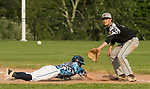 OXFORD, CT-062217JS20- Oxford's Tom Davis (21) dives back safely to first base as Oakville's Grant Wallace (20) covers the throw during their American Legion Zone 5 game Thursday at Oxford High School. Jim Shannon Republican-American