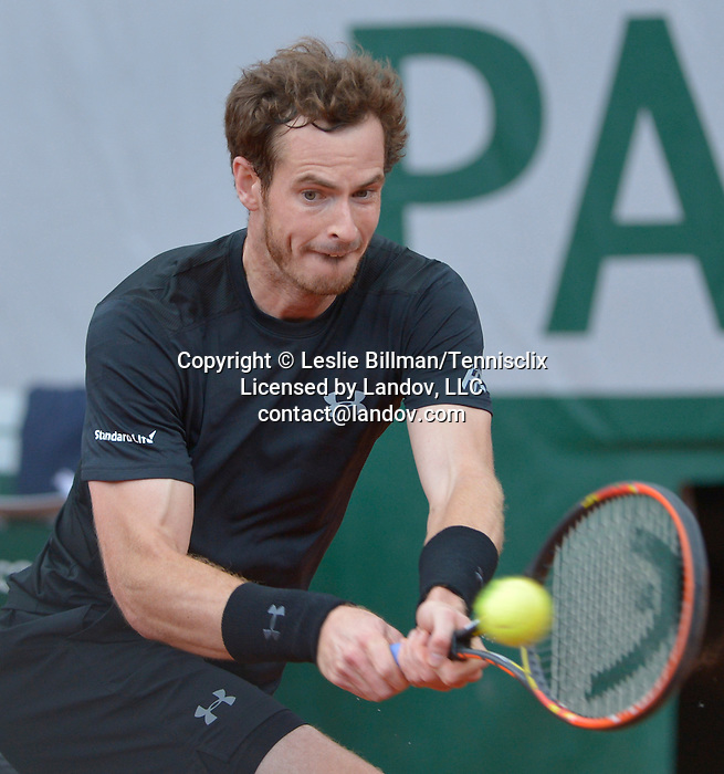 Andy Murray (GBR) battles Jao Sousa (POR) at  Roland Garros being played at Stade Roland Garros in Paris, France on May 28, 2015