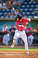 Pensacola Blue Wahoos Mark Contreras (5) at bat during a Southern League game against the Mobile BayBears on July 25, 2019 at Blue Wahoos Stadium in Pensacola, Florida.  Pensacola defeated Mobile 2-1 in the first game of a doubleheader.  (Mike Janes/Four Seam Images)