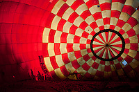 Viewers are shilouetted on a balloon during the Velence Lake International Hot Air Balloon Festival in Agard, Slovakia on September 10, 2011. ATTILA VOLGYI