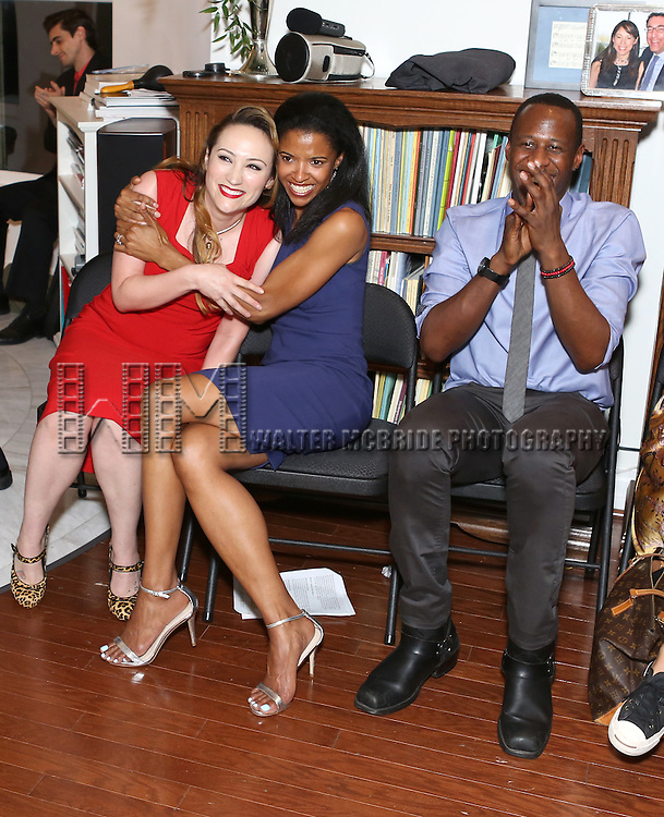 Eden Espinosa, Renee Elise Goldsberry and Marcus Paul James attend 'Parlor Night' A benefit evening for The Broadway Inspirational Voices Outreach Program at the home of Roy and Jenny Neiderhoffer on June 22, 2015 in New York City.