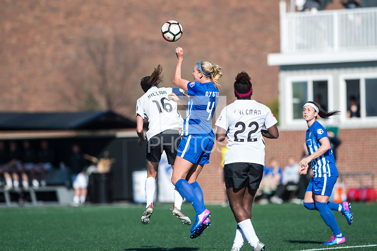 Boston, MA - Sunday April 23, 2017: Sarah Killion, Megan Oyster during a regular season National Women's Soccer League (NWSL) match between the Boston Breakers and Sky Blue FC at Jordan Field.