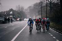 Yves Lampaert (BEL/Quick Step Floors) setting the pace up the Kruisberg next to: John Degenkolb (DEU/Trek-Segafredo), Greg Van Avermaet (BEL/BMC), Tony Martin (GER/Katusha-Alpecin) & Alejandro Valverde (ESP/Movistar)... #notbadcompany<br /> <br /> 73rd Dwars Door Vlaanderen 2018 (1.UWT)<br /> Roeselare - Waregem (BEL): 180km