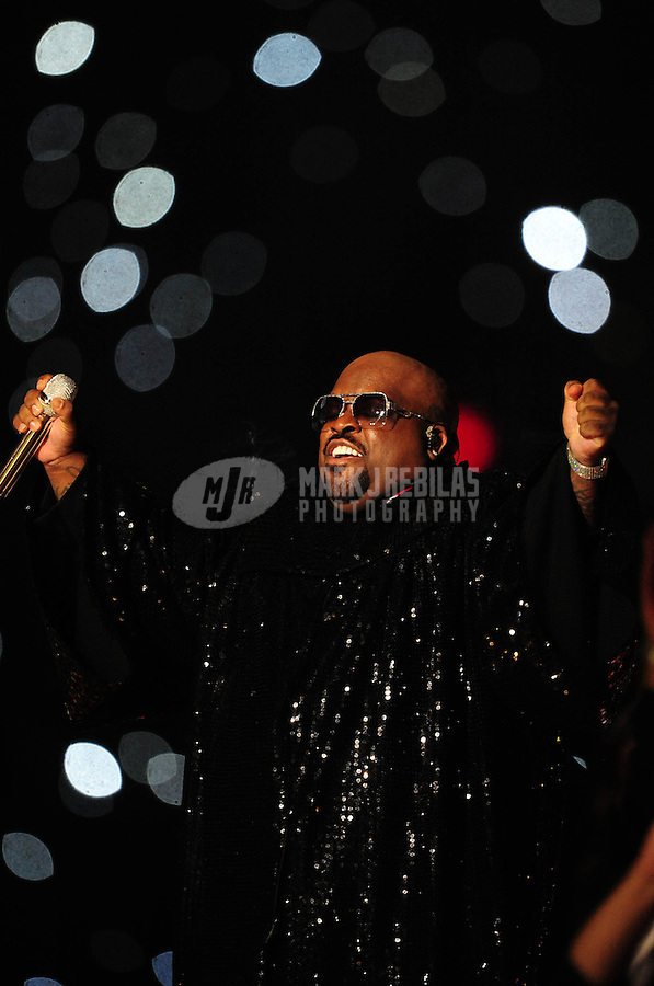 Feb 5, 2012; Indianapolis, IN, USA; Recording artist Cee Lo Green performs with Madonna (not pictured) during the halftime show for Super Bowl XLVI between the New York Giants and New England Patriots at Lucas Oil Stadium.  Mandatory Credit: Mark J. Rebilas-
