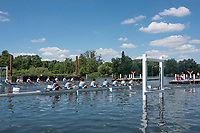 "Henley on Thames, United Kingdom, 22nd June 2018, Friday,   ""Henley Women's Regatta"",  view, Start of an afternoon heat of the Women's Eights on Henley Reach, River Thames, England, © Peter SPURRIER/Alamy Live News"