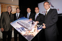 November 2012 file Photo - News conference for  the Tour des Canadiens ;  a new condo project by Club De Hockey Canadien, Canderel, Cadillac Fairview Corporation and Fonds de Solidarité FTQ  - Left to Right : Salvatore Iacono, Daniel Peritz, Yvon Bolduc,Geoff Molson.