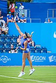 June 18th 2017, Edgbaston Priory Club; Tennis Tournament; Aegon Classic Birmingham; Sunday Qualifiers; Fanny Stollar serving against Jana Fett