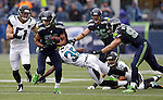 Seattle Seahawks wide receiver Golden Tate (81) runs after catching a 20-yard pass from quarterback Russell Wilson for a first down during the second quarter against the Jacksonville Jaguars at CenturyLink Field in Seattle, Washington on September 22, 2013. The Seahawks beat the Jaguars 45-17. ©2013. Jim Bryant Photo. ALL RIGHTS RESERVED.