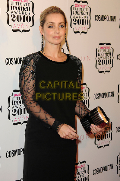 LOUISE REDKNAPP.Cosmopolitan Ultimate Women Of The Year Awards, Banqueting House, Whitehall Place, London, England..November 2nd, 2010.half length black dress long sleeves  dress clutch bag lace gold dangling earrings  .CAP/CAS.©Bob Cass/Capital Pictures.