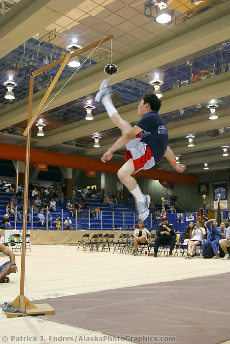 One foot high kick at the World Eskimo Indian Olympics held annually in July, Fairbanks, Alaska.