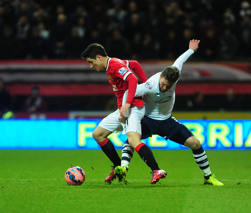Manchester United's Ander Herrera is fouled by Preston North End's Scott Laird<br /> <br /> Photographer Chris Vaughan/CameraSport<br /> <br /> Football - The FA Cup Fifth Round - Preston North End v Manchester United - Monday 16th February 2015 - Deepdale - Preston<br /> <br /> &copy; CameraSport - 43 Linden Ave. Countesthorpe. Leicester. England. LE8 5PG - Tel: +44 (0) 116 277 4147 - admin@camerasport.com - www.camerasport.com