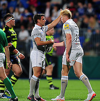 Harry Davies of Bath Rugby is congratulated on his try by team-mate George Ford. Pre-season friendly match, between Leinster Rugby and Bath Rugby on August 26, 2016 at Donnybrook Stadium in Dublin, Republic of Ireland. Photo by: Patrick Khachfe / Onside Images
