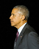 United States President Barack Obama walks across the South Lawn after arriving at the White House in Washington, DC following campaign stops in Fayetteville and Charlotte, North Carolina for Democratic presidential candidate Hillary Clinton on Friday, November 4, 2016.  <br /> Credit: Ron Sachs / CNP