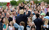 United States President Donald J. Trump greets attendees at the annual Easter Egg roll on the South Lawn of the White House in Washington, DC, on April 17, 2017. <br /> Credit: Olivier Douliery / Pool via CNP