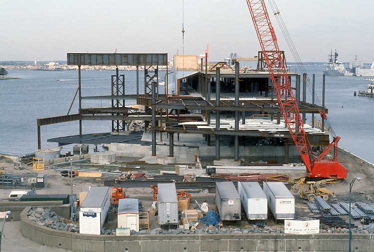 1993 March 10..Redevelopment.Downtown West (A-1-6)..NAUTICUS.CONSTRUCTION PROGRESS.CLOSEUP FROM WORLD TRADE CENTER GARAGE...NEG#.NRHA#..
