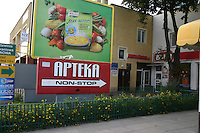 Sign for Polish pharmacy apteka. Lutomierska Street Balucki District Lodz Central Poland