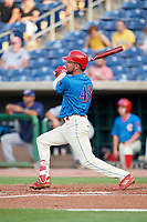 Philadelphia Phillies shortstop J.P. Crawford (43) grounds out in the bottom of the first inning during a game against the Fort Myers Miracle while on rehab assignment with the Clearwater Threshers on May 31, 2018 at Spectrum Field in Clearwater, Florida.  Clearwater defeated Fort Myers 5-1.  (Mike Janes/Four Seam Images)