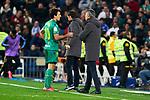 Nacho Monreal of Real Sociedad have words with Imanol Alguacil coach of Real Sociedad during La Liga match between Real Madrid and Real Sociedad at Santiago Bernabeu Stadium in Madrid, Spain. February 06, 2020. (ALTERPHOTOS/A. Perez Meca)