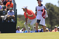 Paul Casey (ENG) and John Mclaren on the 7th green during Saturday's Round 3 of the 118th U.S. Open Championship 2018, held at Shinnecock Hills Club, Southampton, New Jersey, USA. 16th June 2018.<br /> Picture: Eoin Clarke | Golffile<br /> <br /> <br /> All photos usage must carry mandatory copyright credit (&copy; Golffile | Eoin Clarke)