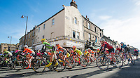 Picture by Allan McKenzie/SWpix.com - 30/04/2016 - Cycling - 2016 Tour de Yorkshire, Stage 2: Otley to Doncaster - Yorkshire, England - The women's race heads out of Otley with Team GB's Melissa Lowther in the foreground.