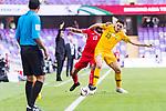 Tom Rogic of Australia (R) fights for the ball with Khalil Baniateyah of Jordan (L) during the AFC Asian Cup UAE 2019 Group B match between Australia (AUS) and Jordan (JOR) at Hazza Bin Zayed Stadium on 06 January 2019 in Al Ain, United Arab Emirates. Photo by Marcio Rodrigo Machado / Power Sport Images