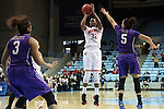 21 March 2015: Ohio State's Shayla Cooper (32) shoots over James Madison's Ashley Perez (5). The Ohio State University Buckeyes played the James Madison University Dukes at Carmichael Arena in Chapel Hill, North Carolina in a 2014-15 NCAA Division I Women's Basketball Tournament first round game.