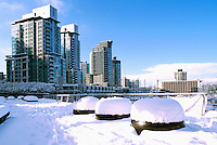"""West End"", Vancouver, BC, British Columbia, Canada - High Rise Apartment / Condominium Buildings, Downtown at ""Coal Harbour"", Heavy Snowfall after Winter Snow Storm"