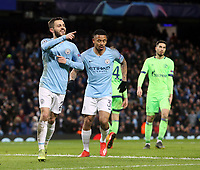 Manchester City's Bernardo Silva acknowledges Leroy Sane (not pictured) after he set him up for his sides fifth goal<br /> <br /> Photographer Rich Linley/CameraSport<br /> <br /> UEFA Champions League Round of 16 Second Leg - Manchester City v FC Schalke 04 - Tuesday 12th March 2019 - The Etihad - Manchester<br />  <br /> World Copyright © 2018 CameraSport. All rights reserved. 43 Linden Ave. Countesthorpe. Leicester. England. LE8 5PG - Tel: +44 (0) 116 277 4147 - admin@camerasport.com - www.camerasport.com
