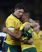 Adam Coleman hugs Kurtley Beale of the Wallabies at the end of the game during the Rugby Championship match between Australia and New Zealand at Optus Stadium in Perth, Australia on August 10, 2019 . Photo: Gary Day / Frozen In Motion