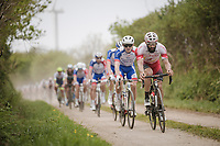 Geoffrey Souppe (FRA/Cofidis) leading the way over the Breton gravel roads<br /> <br /> 36th TRO BRO LEON 2019 (FRA)<br /> One day race from Plouguerneau to Lannilis (205km)<br /> <br /> ©kramon