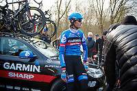 Paris-Roubaix 2013 RECON at Bois de Wallers-Arenberg..former winner Johan Vansummeren (BEL) having his tire pressure checked at the end of the Trouée d'Arenberg