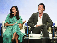 """BEVERLY HILLS - AUGUST 1: Michaela Watkins and Walton Goggins onstage during the """"The Unicorn"""" panel at the CBS portion of the Summer 2019 TCA Press Tour at the Beverly Hilton on August 1, 2019 in Los Angeles, California. (Photo by Frank Micelotta/PictureGroup)"""