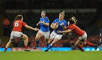 Italy&rsquo;s Veronica Madia breaks free,<br /> <br /> Photographer Ian Cook/CameraSport<br /> <br /> 2018 Women's Six Nations Championships Round 4 - Wales Women v Italy Women - Sunday 11th March 2018 - Principality Stadium - Cardiff<br /> <br /> World Copyright &copy; 2018 CameraSport. All rights reserved. 43 Linden Ave. Countesthorpe. Leicester. England. LE8 5PG - Tel: +44 (0) 116 277 4147 - admin@camerasport.com - www.camerasport.com