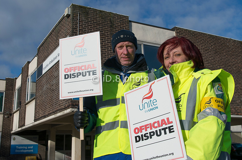 Pickets at Doncaster Ambulance station.